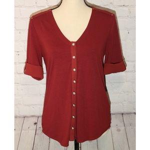 White House Black Market Red Button Up Shirt Sz Sm